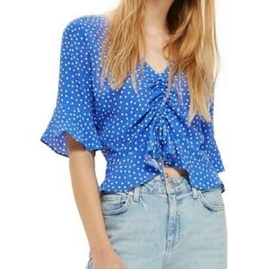 Topshop | Blue Polka Dot Cropped Top